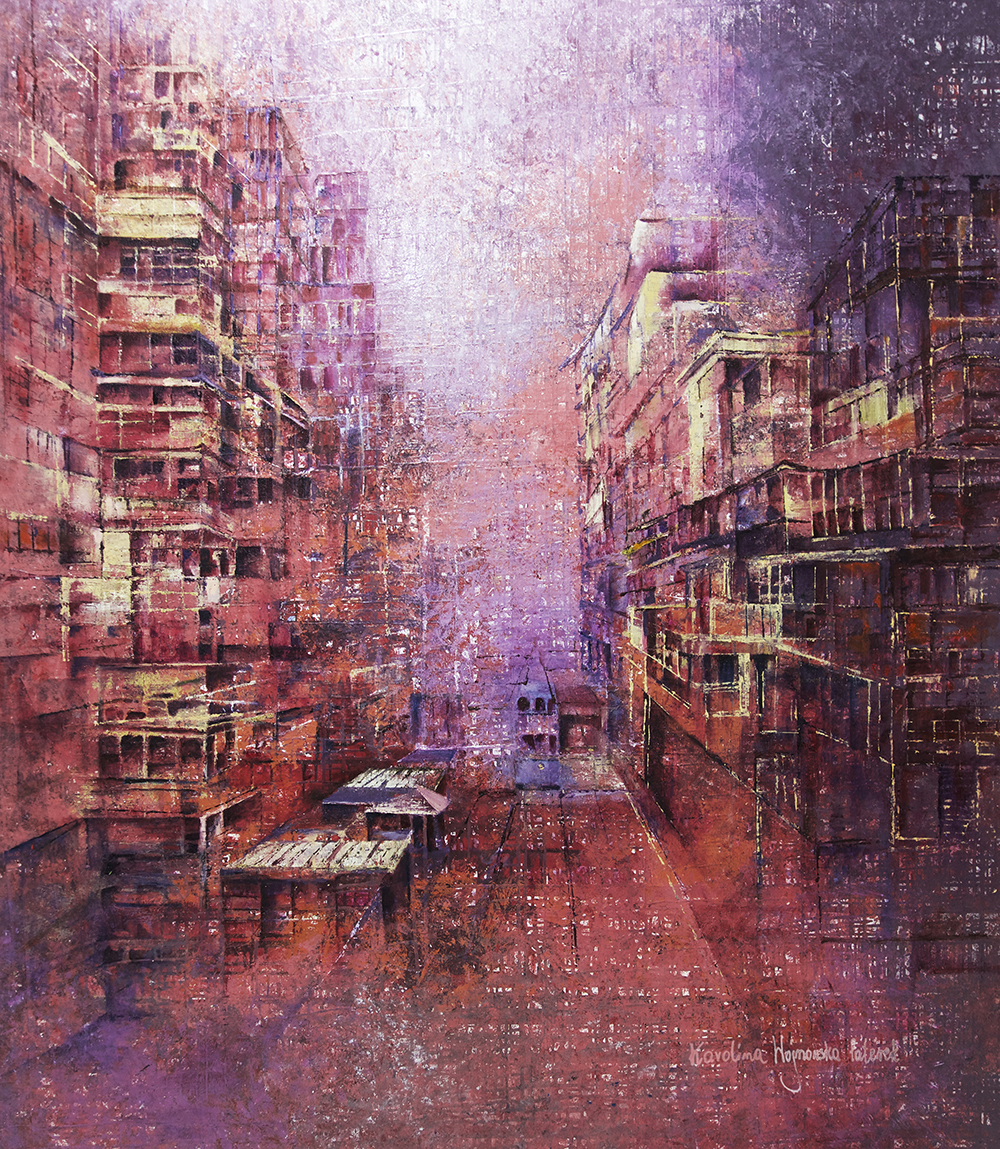 ArtArchitecture_gallery_Karolina_Paterek_Hong_kong_through_Rose_Colored_Glasses_2019_oil_on_canvas_size 143 x 168 cm_price_8m