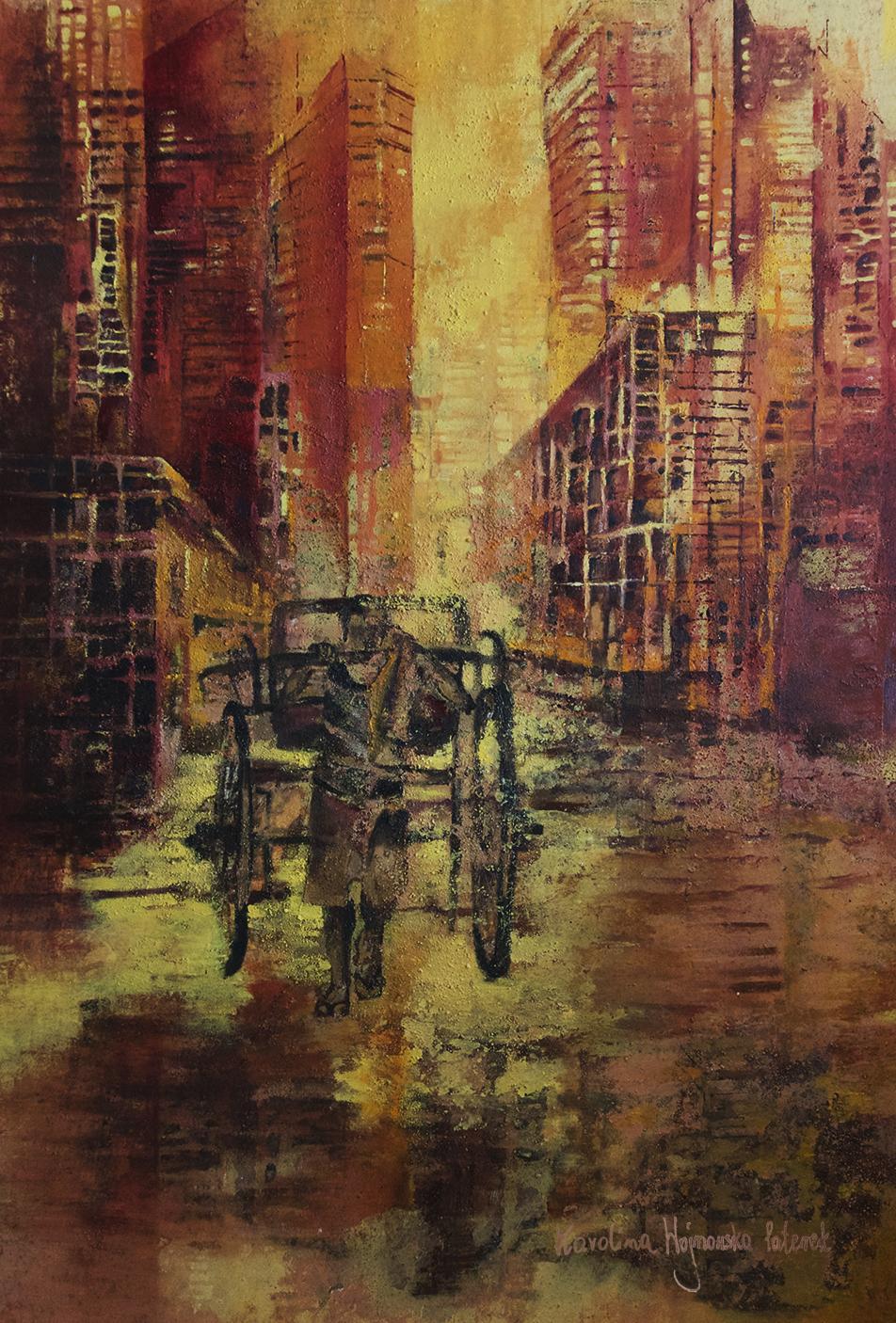 ArtArchitecture_gallery__Karolina_Paterek__Stalking_City_2019_oil_on_canvas_183x120_cm_Price 6000_